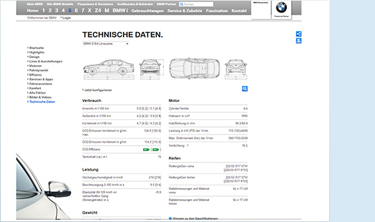 Slider Referenzen von doubleSlash, BMW, Produktdatenmanagement Datenoutput